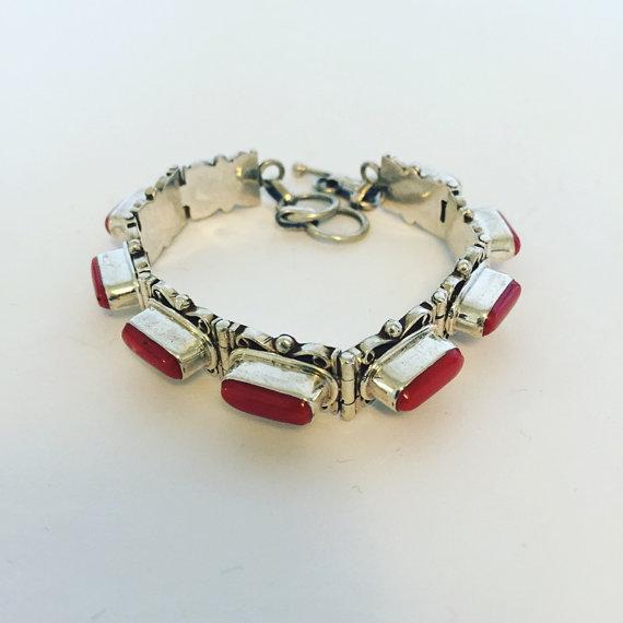 Sterling Silver Coral Bracelet